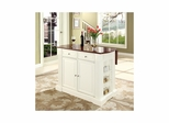 Drop Leaf Breakfast Bar Top Kitchen Island in White - CROSLEY-KF30007WH