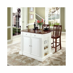 "Drop Leaf Breakfast Bar Top Kitchen Island in White with 24"" Cherry School House Stools - CROSLEY-KF300072WH"
