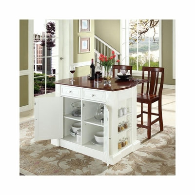 Drop Leaf Breakfast Bar Top Kitchen Island in White with 24