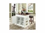 "Drop Leaf Breakfast Bar Top Kitchen Island in White with 24"" Cherry Square Seat Stools - CROSLEY-KF300075WH"