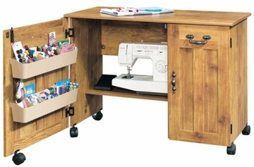 Drop Leaf Sewing / Craft Cart Bishop Pine - Sauder Furniture - 129707