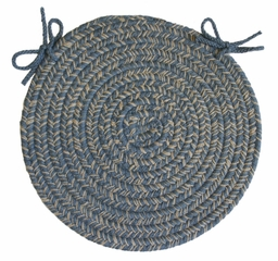 "Duet Blue Bonnet 15"" Braided Chair Pad - Rhody Rug - D-93315CPBL"