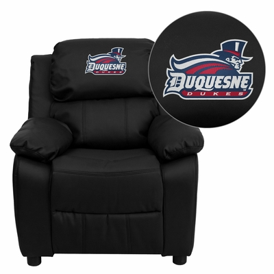 Duquesne University Dukes Black Leather Kids Recliner - BT-7985-KID-BK-LEA-41026-EMB-GG