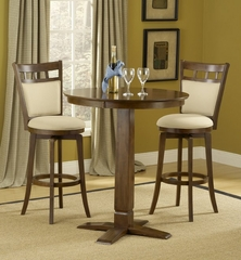 Dynamic Designs 3-Piece Pub Set with Jefferson Stools - Hillsdale Furniture - 4975PTBBRNS2JF