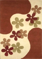 Eastern Weavers Adeline Hand Tufted Floral Rug - Peach Rust