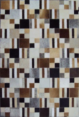 Eastern Weavers Kyle Hand Crafted Cowhide Leather Rug - Brown Ivory