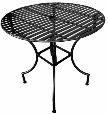 Easy to Assemble Iron Patio Table - Round Black 3