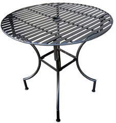 "Easy to Assemble Iron Patio Table - Round Pewter 3"" with Umbrella Hole - Pangaea Home and Garden Furniture - FM-C4851"