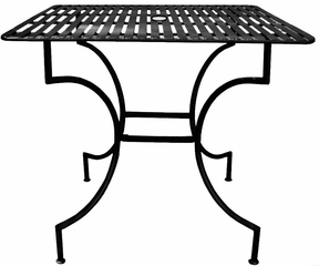 "Easy to Assemble Iron Patio Table - Square Black 3"" with Umbrella Hole - Pangaea Home and Garden Furniture - FM-C4850-K"