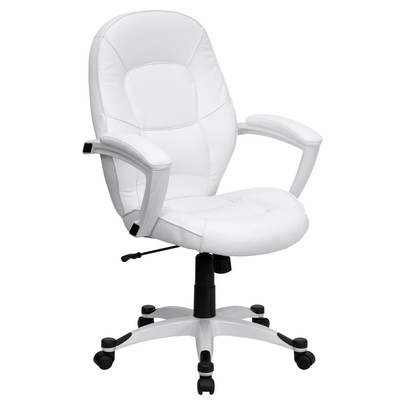 Eco-Friendly White Leather Mid-Back Executive Office Chair - QD-5058M-WHITE-GG