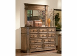 Edgewood Dresser with Mirror in Warm Brown Oak - Coaster - 201623-24-SET