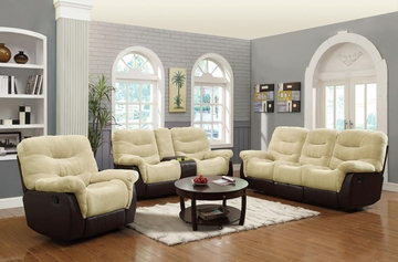 Elaina 3PC Cream / Brown Motion Sofa, Loveseat and Recliner Set - 601071