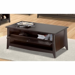 Elegance Coffee Table - 1 Extra Wide Drawer & CD Storage with Flip Door - Nexera Furniture