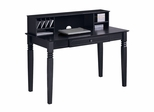 Elegant Solid Wood Desk with Hutch in Black - DW48S30-DHBL