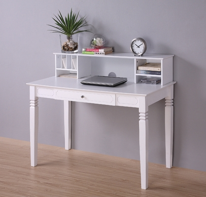 Elegant Solid Wood Desk with Hutch in White - DW48S30-DHWH