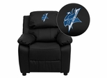 Elizabeth City State University Vikings Embroidered Black Leather Kids Recliner - BT-7985-KID-BK-LEA-41028-EMB-GG