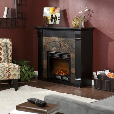 Elkmont Black Electric Fireplace - Holly and Martin