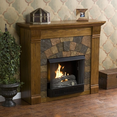 Elkmont Salem Antique Oak Gel Fireplace - Holly and Martin