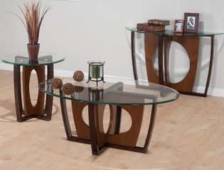 Ellipse Cherry Contemporary 3PC Occasional Table Set - 524-1G