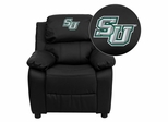 Embroidered Black Leather Kids Recliner - Stetson University Hatters - BT-7985-KID-BK-LEA-41075-EMB-GG