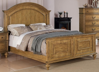 Emily King Panel Bed in Oak - 202571KE