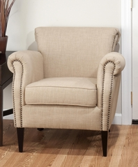 Emma Club Chair with Nailhead Accents - EMMA-CH-WHEAT