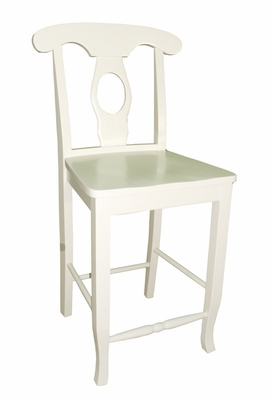 Empire Stool with Solid Wood Seat in Linen White - S31-122W