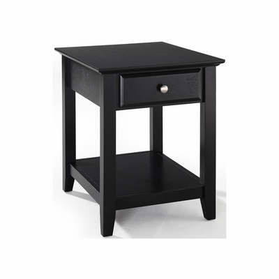 End Table With Storage Drawer in Black - CROSLEY-CF1301-BK