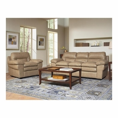 Enterprise Saddle Leather Sofa and Chair Set - Largo - LARGO-WG-L2450-401-403-SET