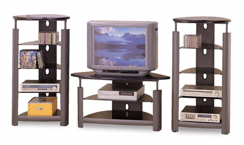 Entertainment Center - 3 Piece Set in Black / Silver - Coaster