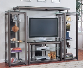 Entertainment Center - 4 Piece Set in Charcoal Grey / Bronze - Coaster