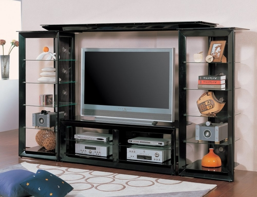 Entertainment Center - 4 Piece Set in Pearl Black - Coaster