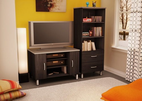 Entertainment Center Set 1 in Black/Onyx and Charcoal - Cosmos - South Shore Furniture - 3127605-652-1