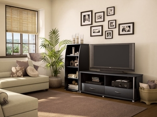 Entertainment Center Set 1 in Solid Black - South Shore Furniture - 4270-ESET-191
