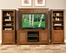 Entertainment Console, 2 Pier Cabinets and Back Panel Set in Soft Mahogany - Jamaican Bay - 5535-44