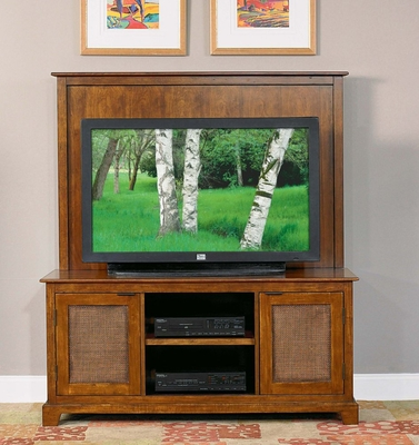 Entertainment Console and Back Panel Set in Soft Mahogany - Jamaican Bay - 5535-24