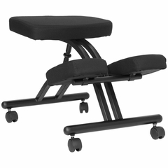 Ergonomic Office Chair with Black Metal Frame and Black Fabric - WL-1420-GG