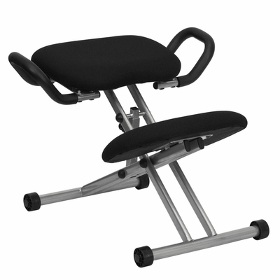 Ergonomic Office Chair with Handles, Metal Frame and Black Fabric - WL-1429-GG