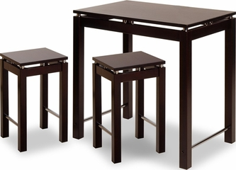 Espresso Breakfast Table with 2 Stools Set - Winsome Trading - 92734