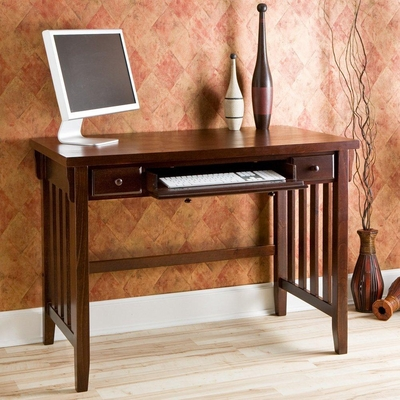 Espresso Computer Desk with Pullout Drawers - Holly and Martin