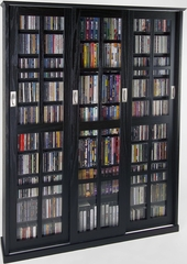Espresso Mission Style Sliding Glass Door DVD Cabinet - Leslie Dame DVD Storage - MS-1050ES