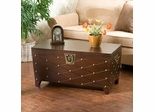 Espresso Nailhead Cocktail Table Trunk - Holly and Martin