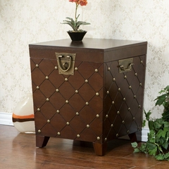 Espresso Nailhead End Table Trunk - Holly and Martin