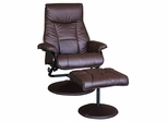Espresso PU Chair and Ottoman Set - Lauralyn - 19796