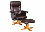 Espresso PU Chair and Ottoman Set (Stressless) - Leo - 19794