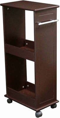 Espresso Rolling Side Cabinet with Shelves