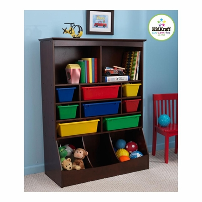 Espresso Wall Storage Unit with Bins - KidKraft