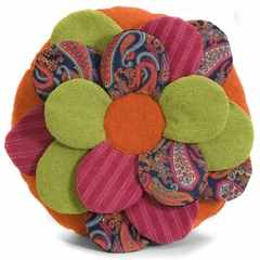 Estelle Multi-Fabric Flower Pillow - IMAX - 42050