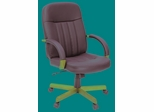 Ethos Black leather chair with wood arms and base - ROF-1050