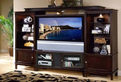 Excalibur Entertainment Center Set 2 in Espresso - Encore by APA Marketing - EXR-ESET-2